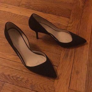 J Crew Black Suede Heels, Size 8.5